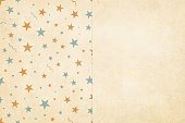 Vector Illustration where the left half of the  design is starry background in Vintage colors, beige, pale blue and dull orange brown, party and celebration elements like swirls, stars, confetti on a pale grunge beige background, and the right half is pla