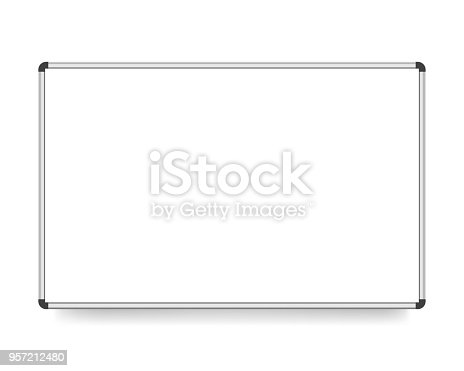 vector illustration, white board with copy space isolated on a white background.