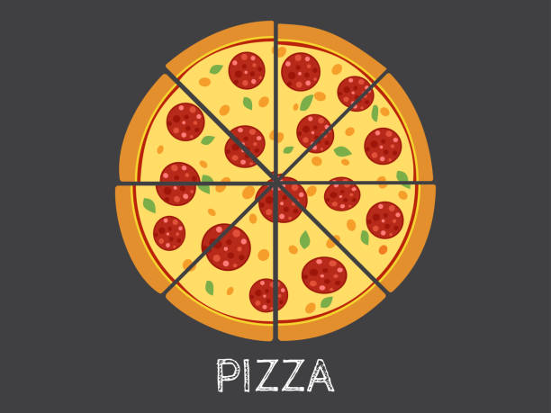 ilustrações de stock, clip art, desenhos animados e ícones de vector illustration whole and slice pizza isolated on black background - inteiro