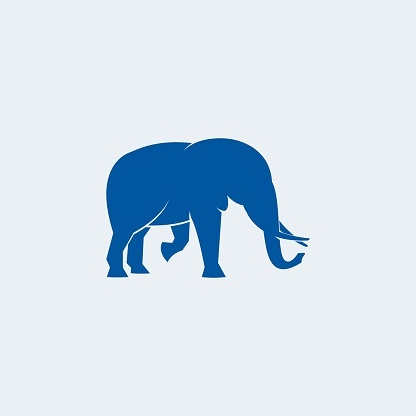 Vector Illustration Wild Elephant Blue Color Silhouette Style.