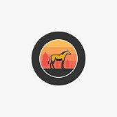Vector Illustration Wild Horse Vintage Badge.