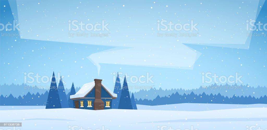 Ilustración De Vector Ilustración Paisaje De Navidad Con La Casa De