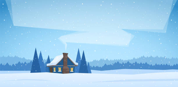 vector illustration: winter christmas landscape with cartoon house and smoke from the chimney. - log cabin stock illustrations, clip art, cartoons, & icons