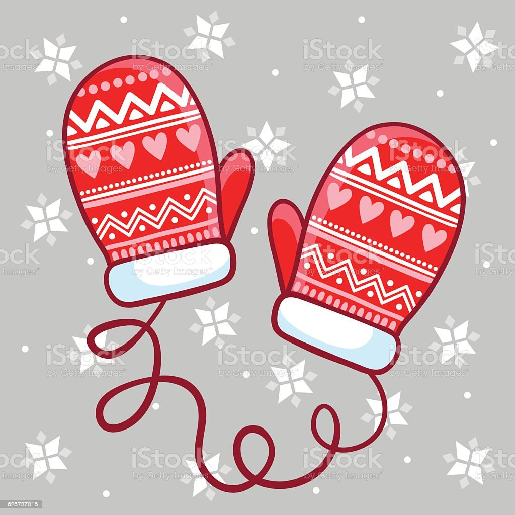 Vector illustration winter mittens in childrens style. vector art illustration