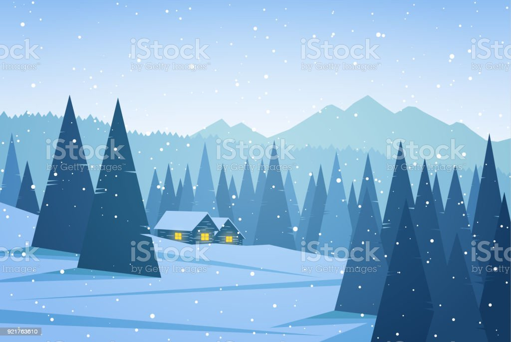 ベクトル イラスト 2 軒の家松の雪と冬の山の風景 イラストレーション