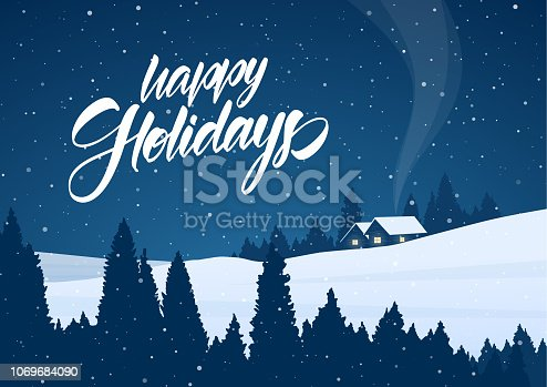 istock Vector illustration: Winter snowy christmas landscape with cartoon houses and handwritten lettering of Happy Holidays 1069684090