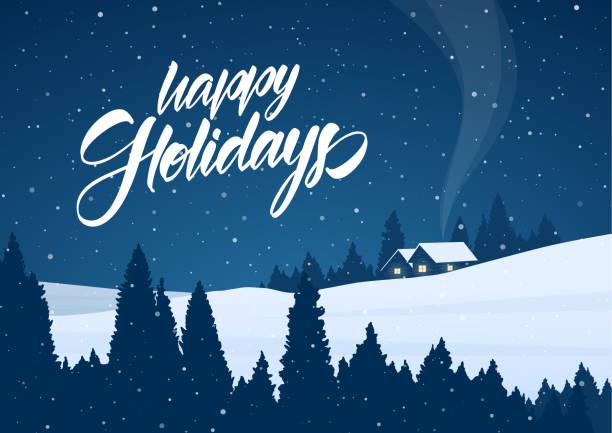 stockillustraties, clipart, cartoons en iconen met vector illustratie: winter van de besneeuwde landschap van kerstmis met cartoon huizen en handgeschreven letters van happy holidays - christmas cabin