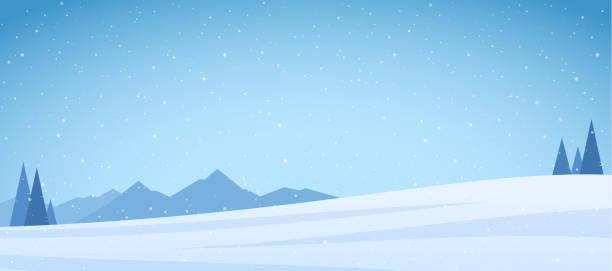 ilustrações, clipart, desenhos animados e ícones de ilustração do vetor: montanhas de neve de inverno paisagem com pinheiros e campo - paisagem cena não urbana