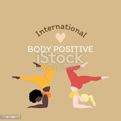 istock Vector illustration with 2 happy oversized women in yoga positions handstand. International body positive. Sports and health body positive concept for postcard, yoga classes, t-shirt active lifestyle 1197496177