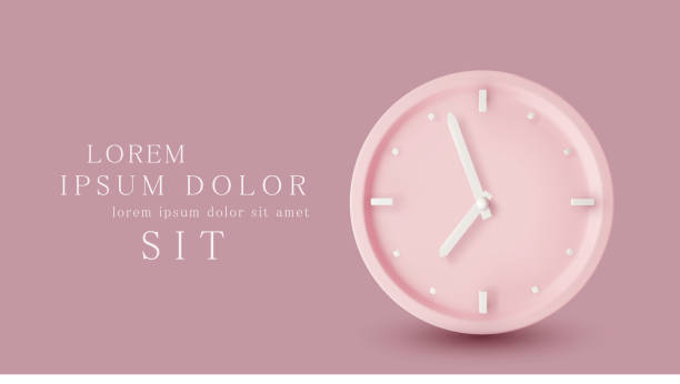 Vector  illustration with 3d object. Pink watch dial with white hands. Isolation on a pink background. Minimalistic pastel template for web site design, flyer, card, banner, advertisement. Vector  illustration with 3d object. Pink watch dial with white hands. Isolation on a pink background. Minimalistic pastel template for web site design, flyer, card, banner, advertisement. clock stock illustrations
