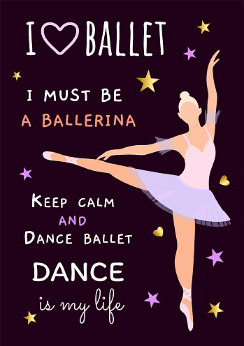 Vector illustration with a ballerina blonde in a purple dress on a dark background. Poster, flyer, invitation, dance school product design, teaching plastic and choreography. Body ballet as a hobby of ordinary people. Slogans about ballet.