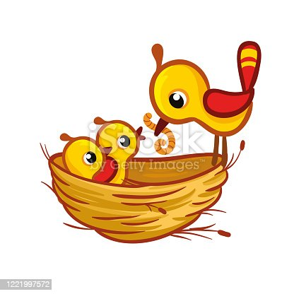 istock Vector illustration with a bird that brought the worm to the chicks in the nest. 1221997572
