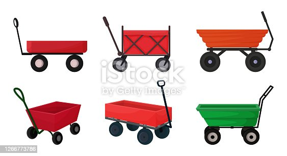 Vector illustration with a cart for the garden in a cartoon style. A set of 6 different cars in red, yellow, green, for gardening, harvesting, planting seedlings