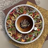 Vector illustration with a Cup and hand drawn Coffee doodles on a saucer and background