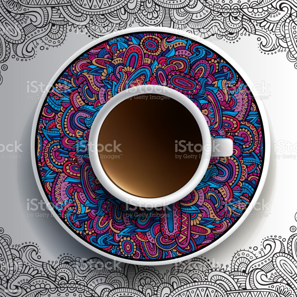 Vector illustration with a Cup of coffee vector art illustration