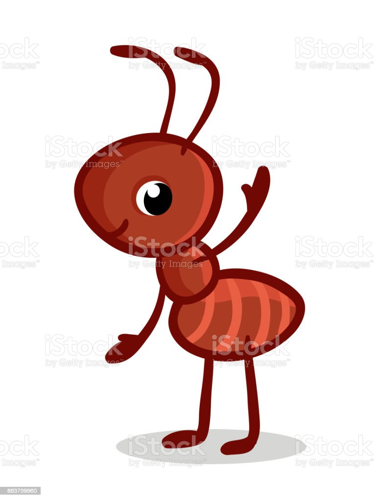 Vector illustration with a cute ant. vector art illustration