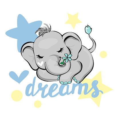 Vector illustration with a cute sleeping elephant isolated and dreams inscription on a white background. Funny animals for kids