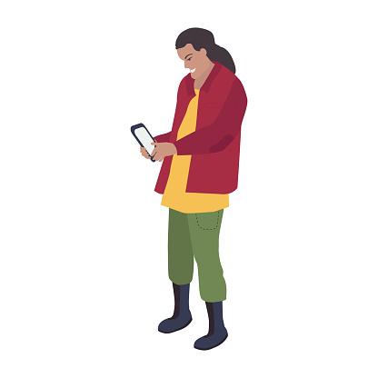 Ilustración vectorial con un arqueólogo masculino en botas que está mirando una tableta. Un hombre mira el mapa de excavación en un teléfono inteligente. Búsqueda de información en Internet