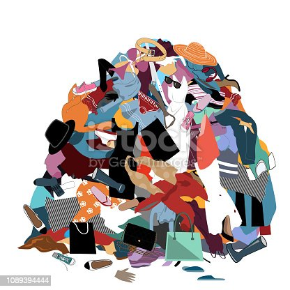 Vector Illustration with a Messy Pile of Dirty Laundry. Big pile of useless clothes. Nothing to wear concept, home stuff