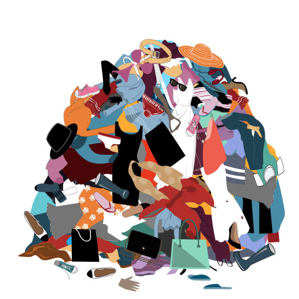 illustrazioni stock, clip art, cartoni animati e icone di tendenza di vector illustration with a messy pile of dirty laundry. big pile of useless clothes. nothing to wear concept, home stuff and rubbish - disordinato