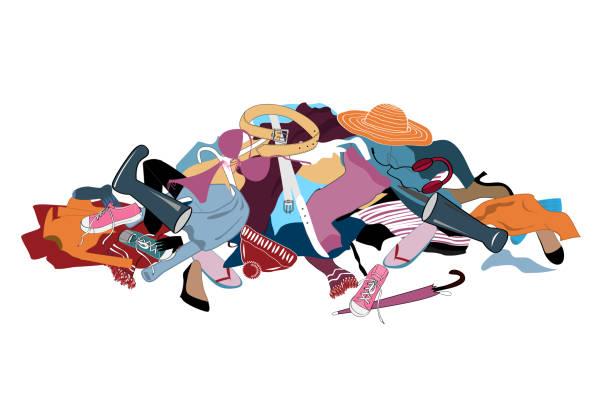 ilustrações, clipart, desenhos animados e ícones de ilustração vetorial com uma desarrumado pilha de roupa suja. - pilha arranjo
