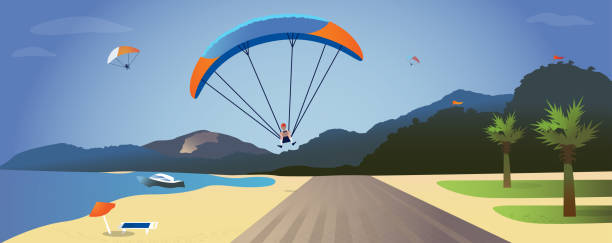 ilustrações de stock, clip art, desenhos animados e ícones de vector illustration with a paragliding on the background of the sea landscape - parapente