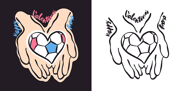Vector illustration with a soccer heart. Football card for Valentine's Day. Sports print for a T-shirt.