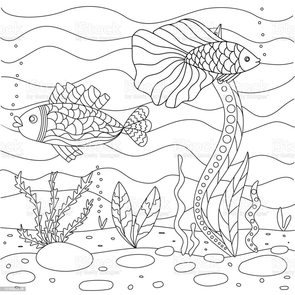 Illustration De Vecteur Avec Des Algues Et Des Poissons Fond De Mer Livre  Mignon De Coloriage De Page Carrée Pour Les Petits Enfants Simple Dessin ...