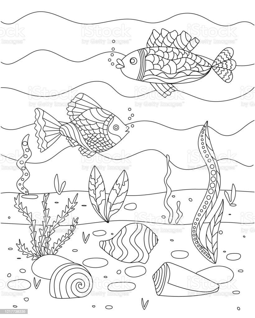 Illustration De Vecteur Avec Des Algues La Coquille Et Le Poisson Le Fond  De Mer Livre De Coloriage Mignon Pour Enfants Simple Dessin Drôle Pour ...