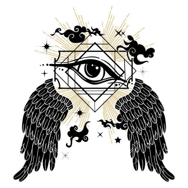 ilustrações de stock, clip art, desenhos animados e ícones de vector illustration with all-seeing eye symbol. celestial background. retro and boho style. - seitas