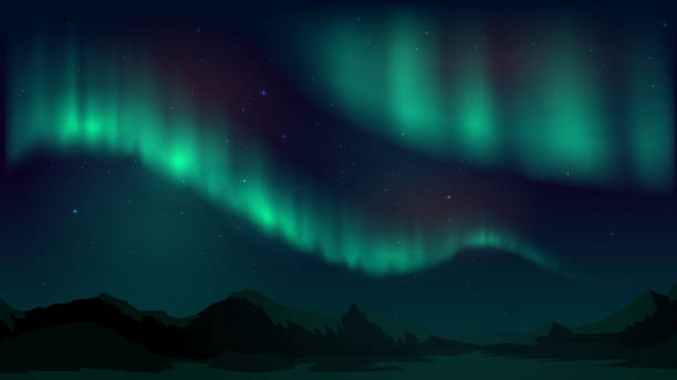 illustrazioni stock, clip art, cartoni animati e icone di tendenza di vector illustration with aurora borealis, northern starry night - aurora boreale
