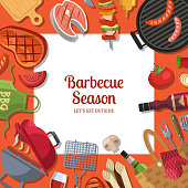 Vector illustration with barbecue or grill cooking theme with place for text. Bbq cooking and grill food