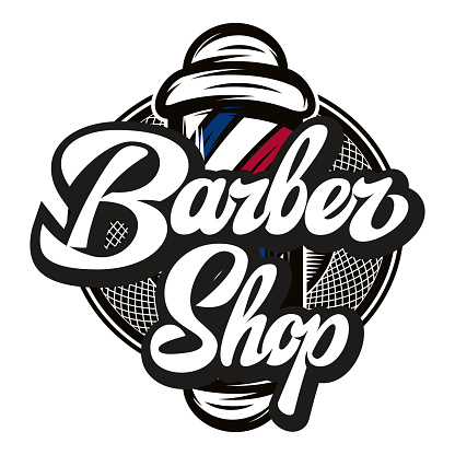 Vector illustration with barber pole and calligraphic inscription
