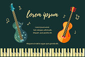 Vector illustration with bass guitar and acoustic guitar. Template for invitation, guitar lessons, shop, web, poster, banner.