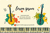 Vector illustration with bass guitar and acoustic guitar, paint splashes. Template for invitation, guitar lessons, shop, web, poster, banner.