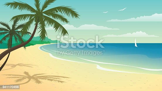 istock Vector illustration with beach 941170456