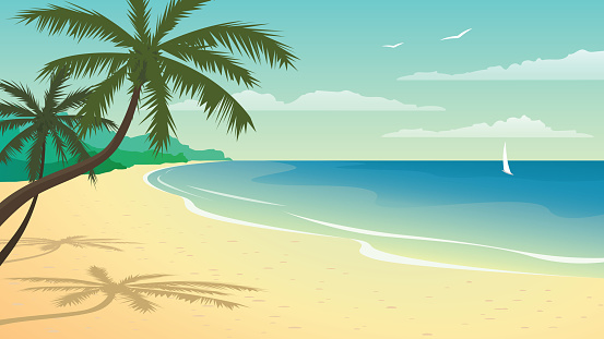 Vector illustration with beach clipart