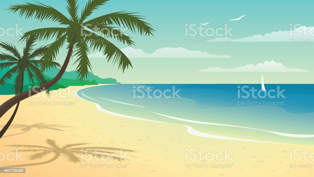 Vector illustration with beach vector art illustration