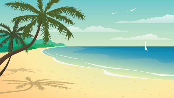 vector illustration with beach - beach stock illustrations