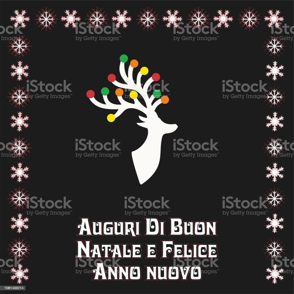 Auguri Di Buon Natale Merry Christmas.Vector Illustration With Beautiful Christmas Reindear Text In