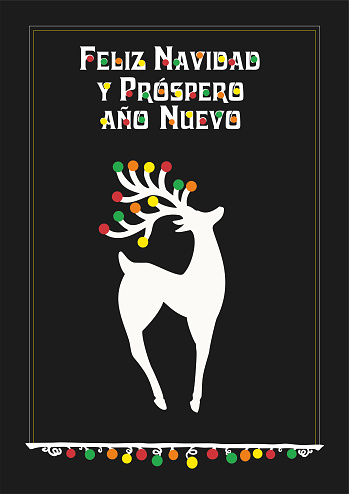 Vector illustration with Beautiful Reindear, Text in German (Portugal, português)  feliz navidad y feliz año nuevo , means Merry Christmas and Happy new year