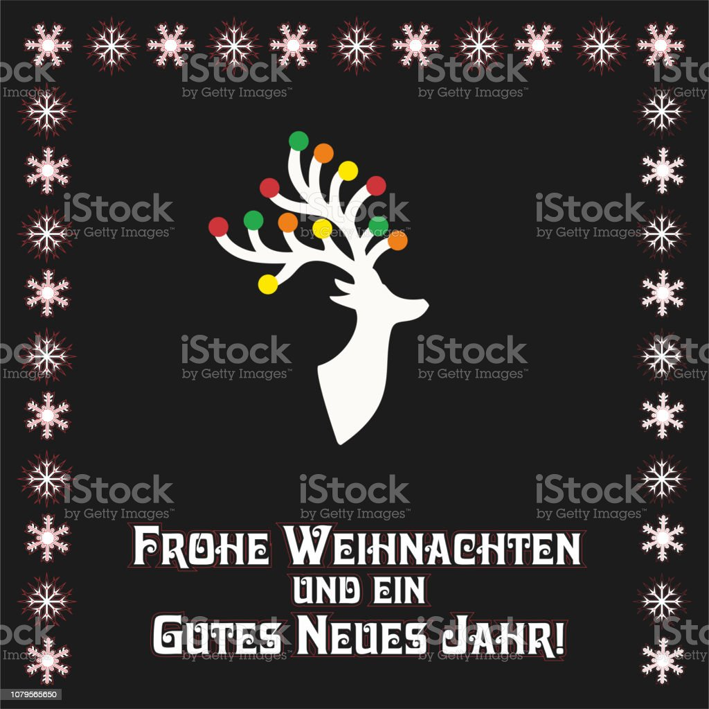 Frohe Weihnachten Und Ein Glückliches Neues Jahr In Allen Sprachen.Vektorillustration Mit Schönen Reindear Text In Deutsch Frohe