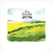 Organic farms. Watercolor illustration poleravy and sky. Vector illustration of nature.