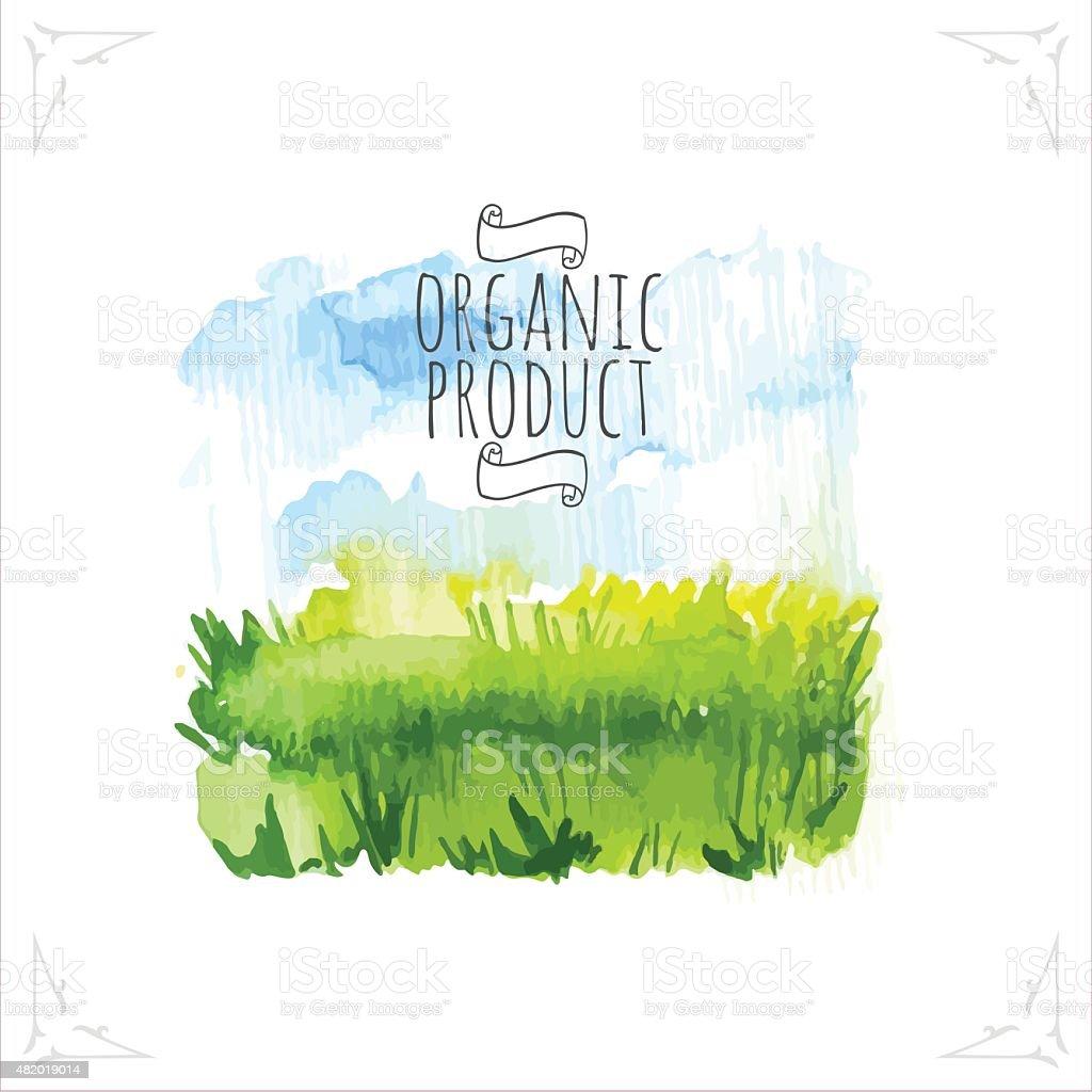 Vector illustration with beautiful spring landscape field. vector art illustration