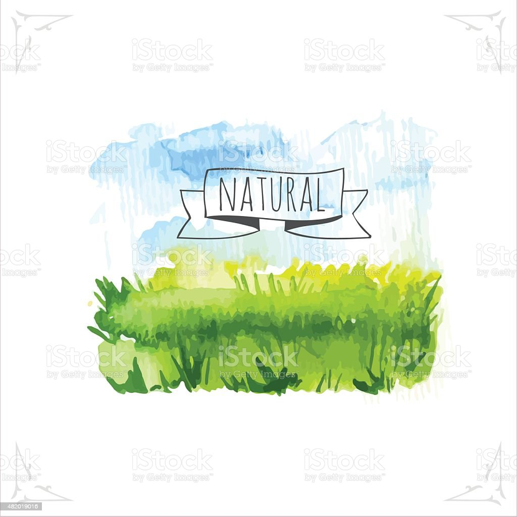 Vector illustration with beautiful spring landscape field. vector art illustration