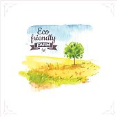Vector illustration of nature in the Provencal style. Watercolor illustration of a tree in a field.