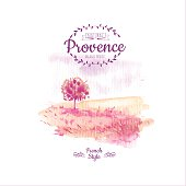 Vector illustration of nature in the Provencal style. Watercolor illustration of a tree in a field of delicate pink colors.