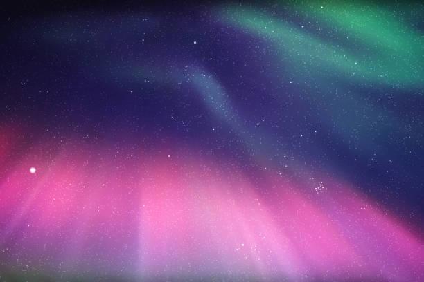 illustrazioni stock, clip art, cartoni animati e icone di tendenza di vector illustration with beautiful starry sky and northern lights - aurora boreale
