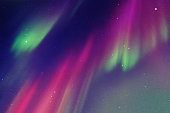 Abstract colorful background with purple-green aurora borealis