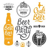 Vector Illustration with beer pub icon and labels. Simple symbols glass, bottle. Oktoberfest traditions. Decorative elements for your design. Black white style.